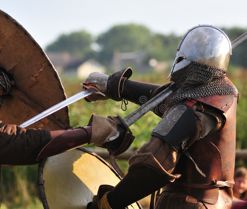De strijders van Viking vechten. royalty-vrije stock afbeeldingen