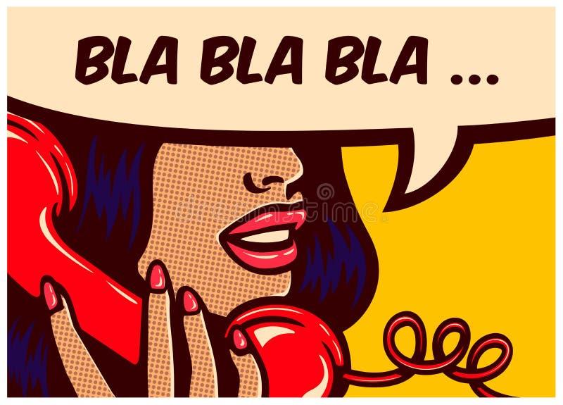 De strippaginapaneel van de pop-artstijl met meisje het spreken op uitstekende telefoon vectorillustratie royalty-vrije illustratie