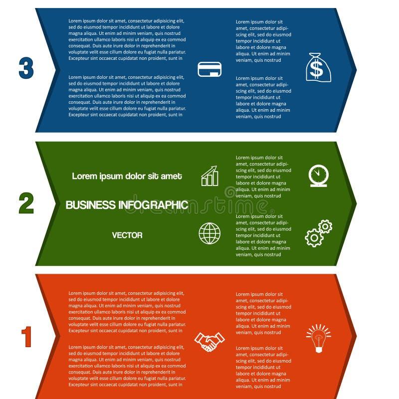 De stroken van de Infographickleur van pijlen drie posities royalty-vrije illustratie