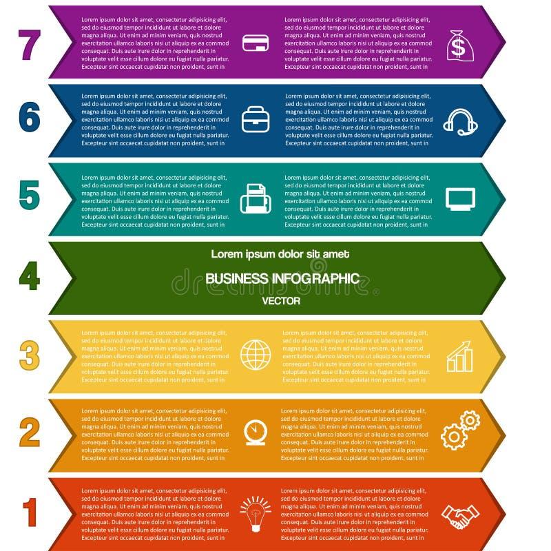 De stroken van de Infographickleur van pijlen zeven posities stock illustratie
