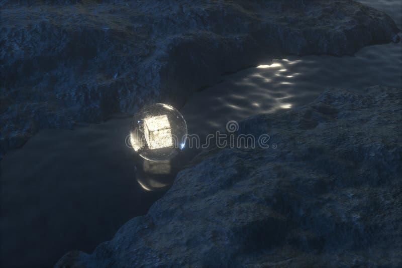 De stromende lantaarn in de rivier tussen de bergen bij nacht, het 3d teruggeven royalty-vrije illustratie