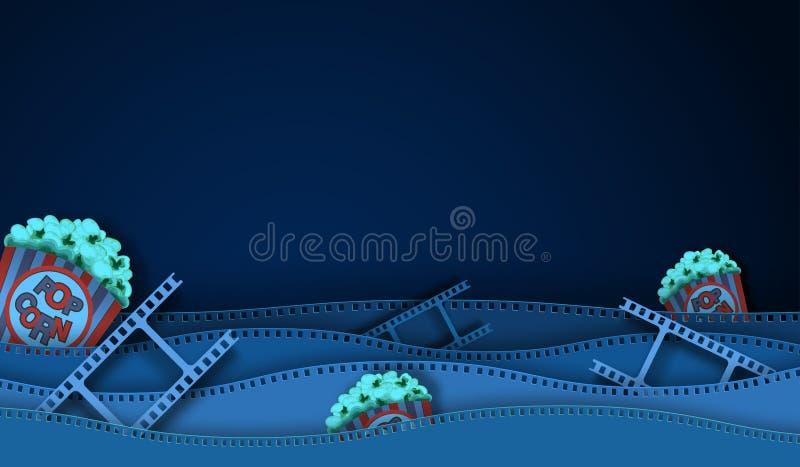 De strook en de Popcorn van de golffilm die op donkere achtergrond wordt geïsoleerd Close-upmening voor de bioskoopaffiche van de stock illustratie