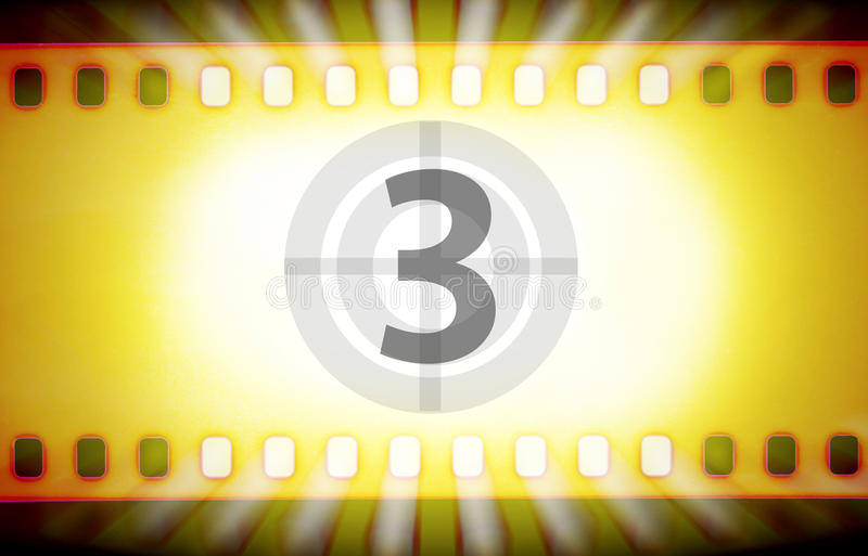 De strook van de bioskoopfilm met filmaftelprocedure en lichte stralen Film startconcept royalty-vrije illustratie