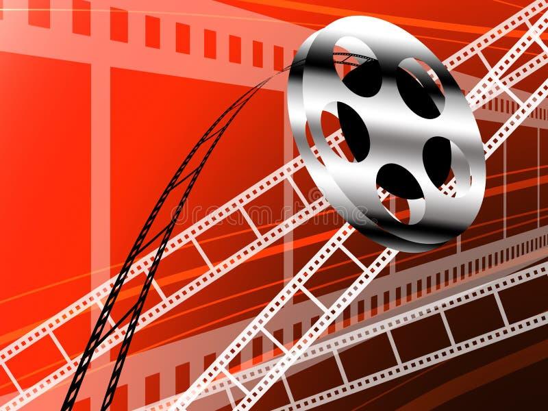 De strook van de film en broodje, de technologie van de Bioskoop stock illustratie