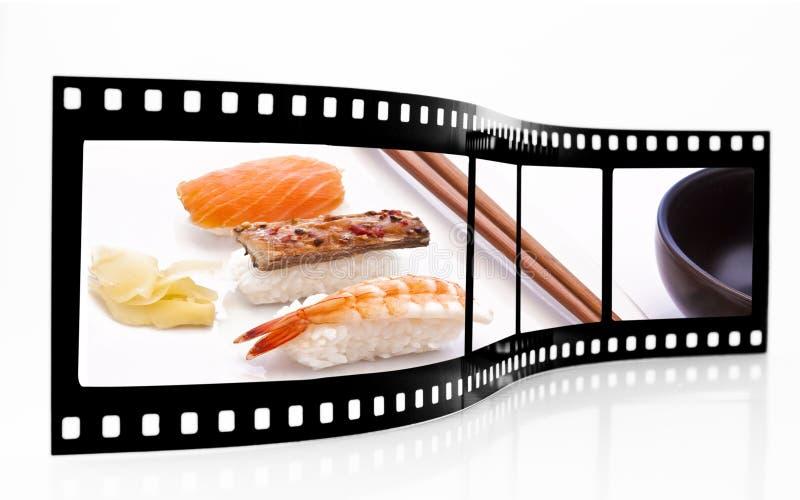 De Strook van de Film van sushi stock afbeeldingen