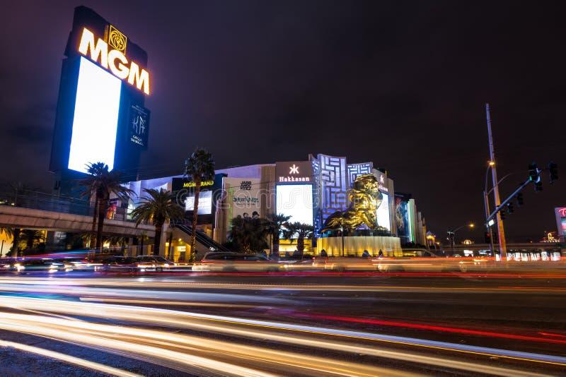 De Strook van Las Vegas en het Grote Casino van MGM bij nacht - Las Vegas, Nevada, de V.S. stock foto