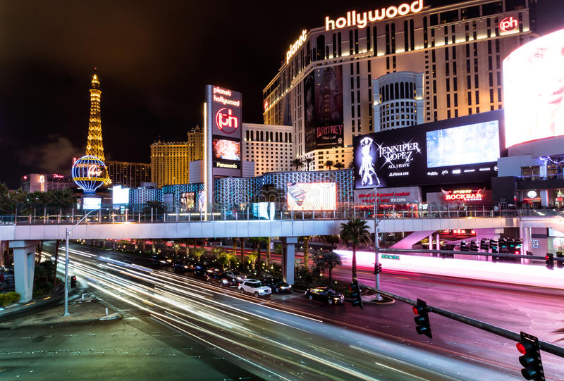 De Strook van Las Vegas en het Hotel en het Casino van Planeethollywood bij nacht - Las Vegas, Nevada, de V.S. stock foto
