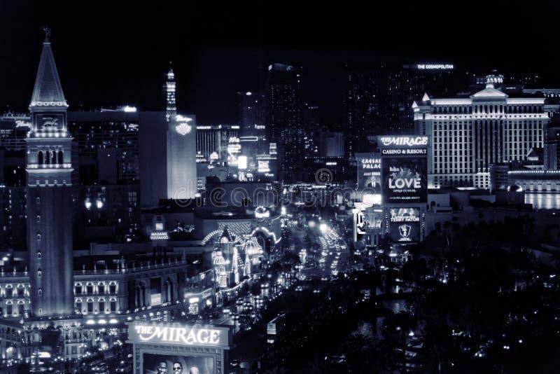 De strook van Las Vegas, Nevada bij nacht in zwart-wit royalty-vrije stock afbeeldingen
