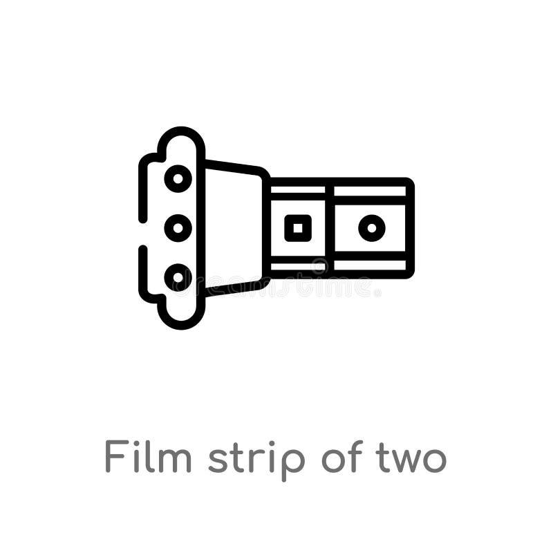 de strook van de overzichtsfilm van twee fotogrammen vectorpictogram de geïsoleerde zwarte eenvoudige illustratie van het lijnele royalty-vrije illustratie
