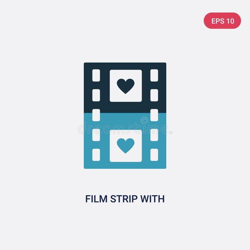 De strook van de twee kleurenfilm met hart vectorpictogram van vormenconcept de geïsoleerde blauwe filmstrook met symbool van het stock illustratie