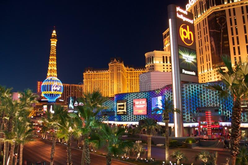 De Strook van Vegas van Las bij Nacht stock afbeelding