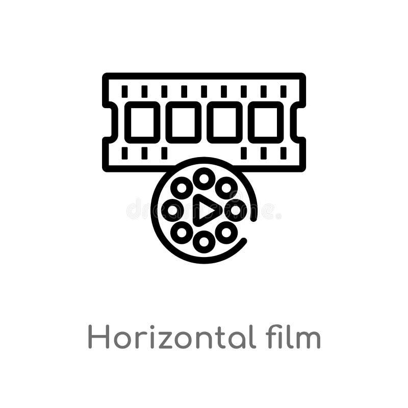 de strook vectorpictogram van de overzichts horizontaal film de ge?soleerde zwarte eenvoudige illustratie van het lijnelement van vector illustratie