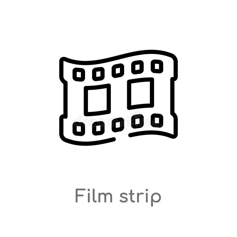 de strook vectorpictogram van de overzichtsfilm de geïsoleerde zwarte eenvoudige illustratie van het lijnelement van elektronisch royalty-vrije illustratie