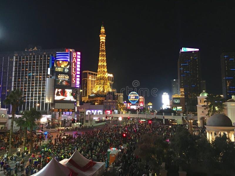De Strookhoogtepunt van Las Vegas van marathon 's nachts agenten royalty-vrije stock foto