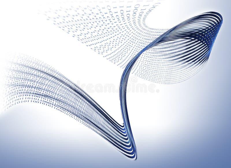 De stroom van binaire codegegevens, mededeling royalty-vrije illustratie