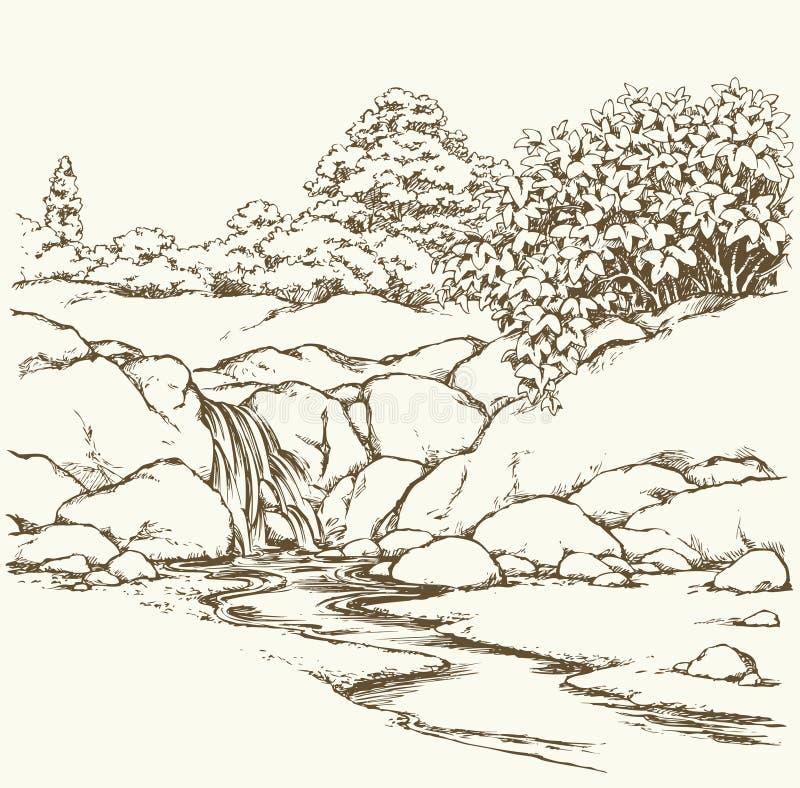 De stroom van de berg Vector tekening stock illustratie
