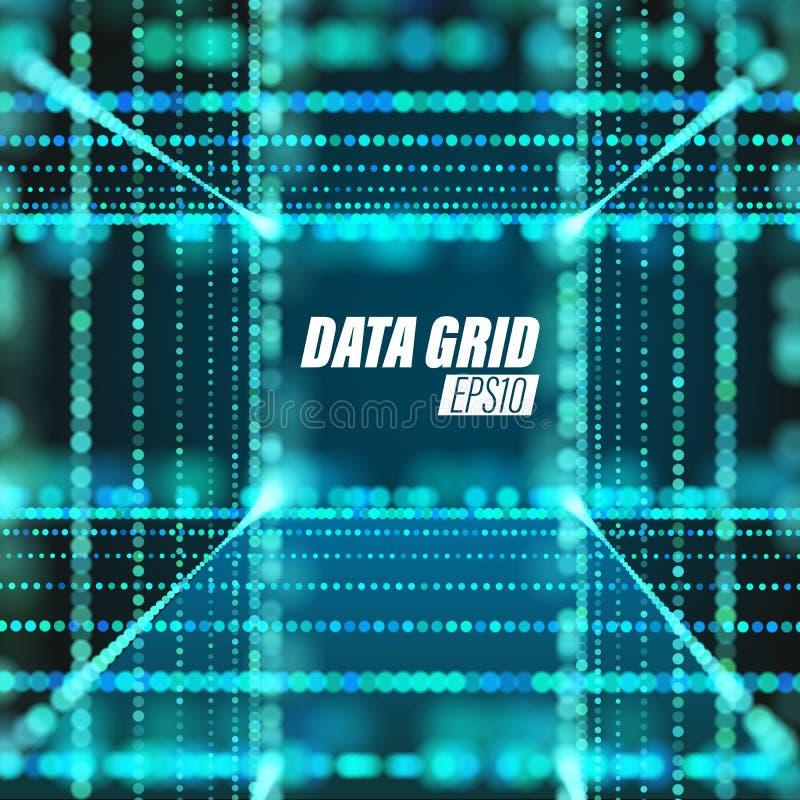 De stroom van de gegevensoverdracht Cyberspace technologieachtergrond Roosterstructuur vector illustratie