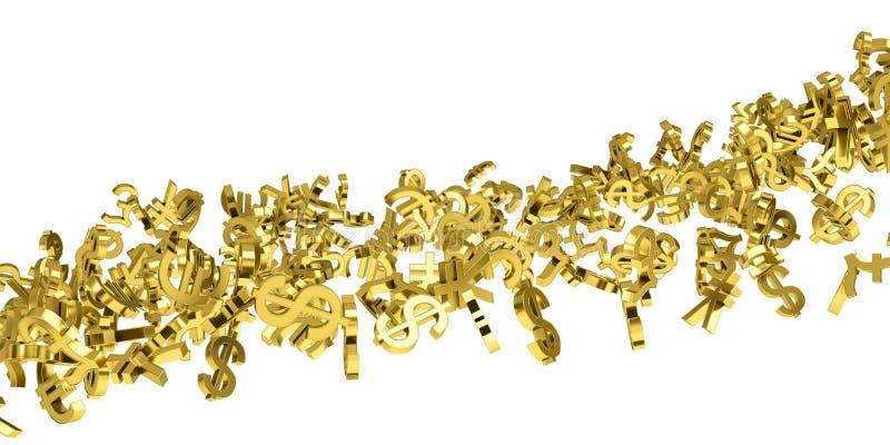 De stroom van gouden muntsymbolen stock illustratie