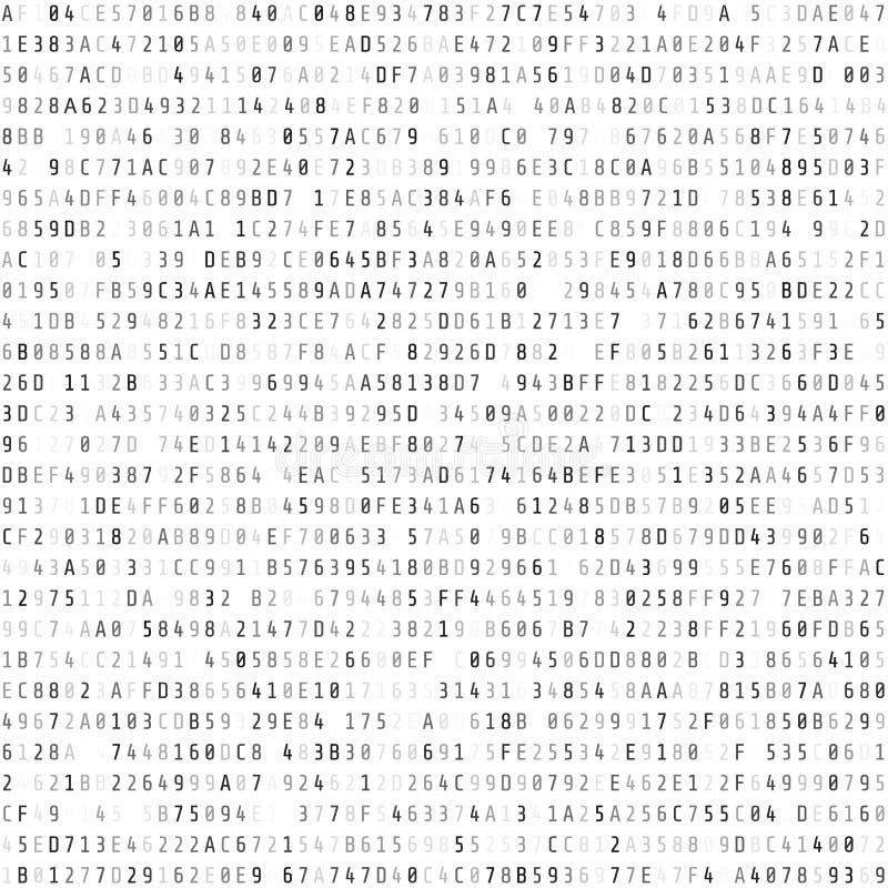 De stroom van de hexuitdraaicode Abstract digitaal gegevenselement great spruit Vectordieillustratie op wit wordt geïsoleerd stock illustratie