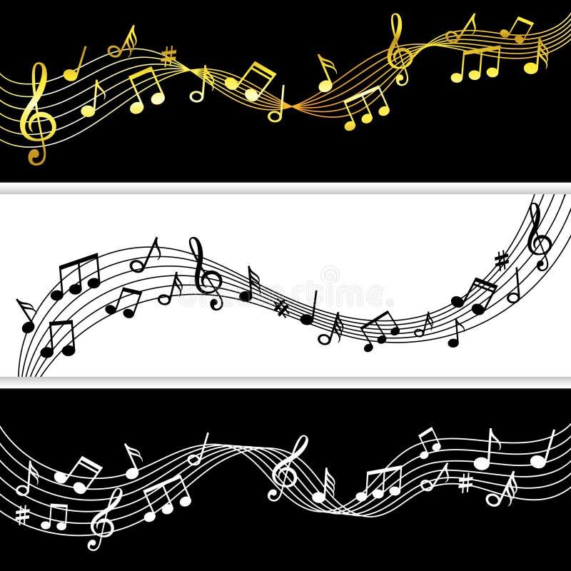 De stroom van muzieknota's Van de de notatekening van de krabbelmuziek de het bladpatronen, vector muzikale symbolen silhouetteer royalty-vrije illustratie