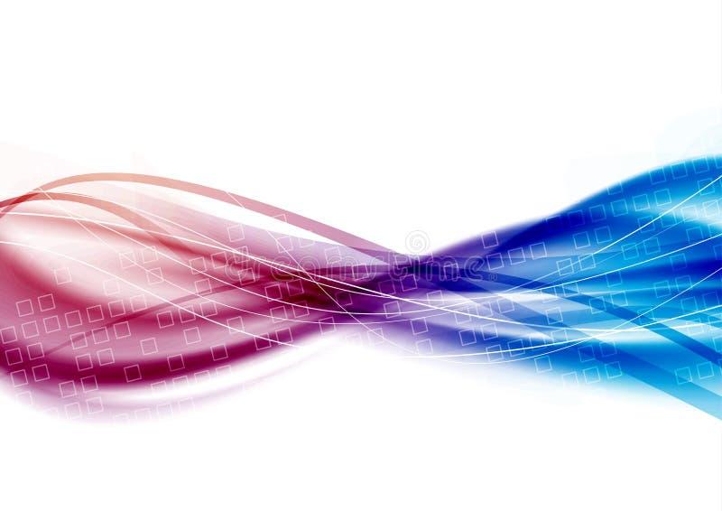 De stroom van satijn swoosh lijnen - blauwe roze golven royalty-vrije illustratie