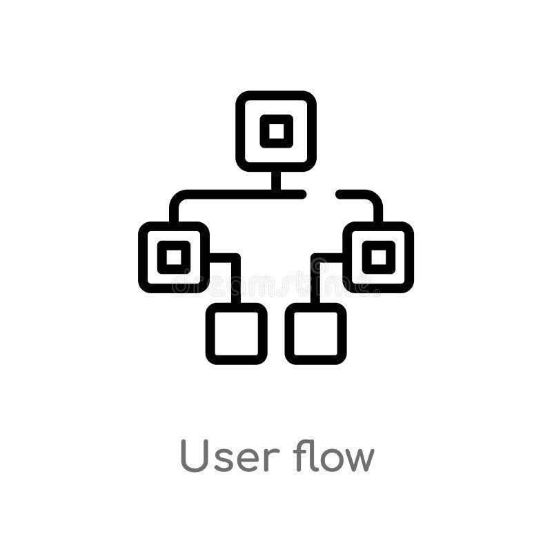 de stroom vectorpictogram van de overzichtsgebruiker de ge?soleerde zwarte eenvoudige illustratie van het lijnelement van technol royalty-vrije illustratie