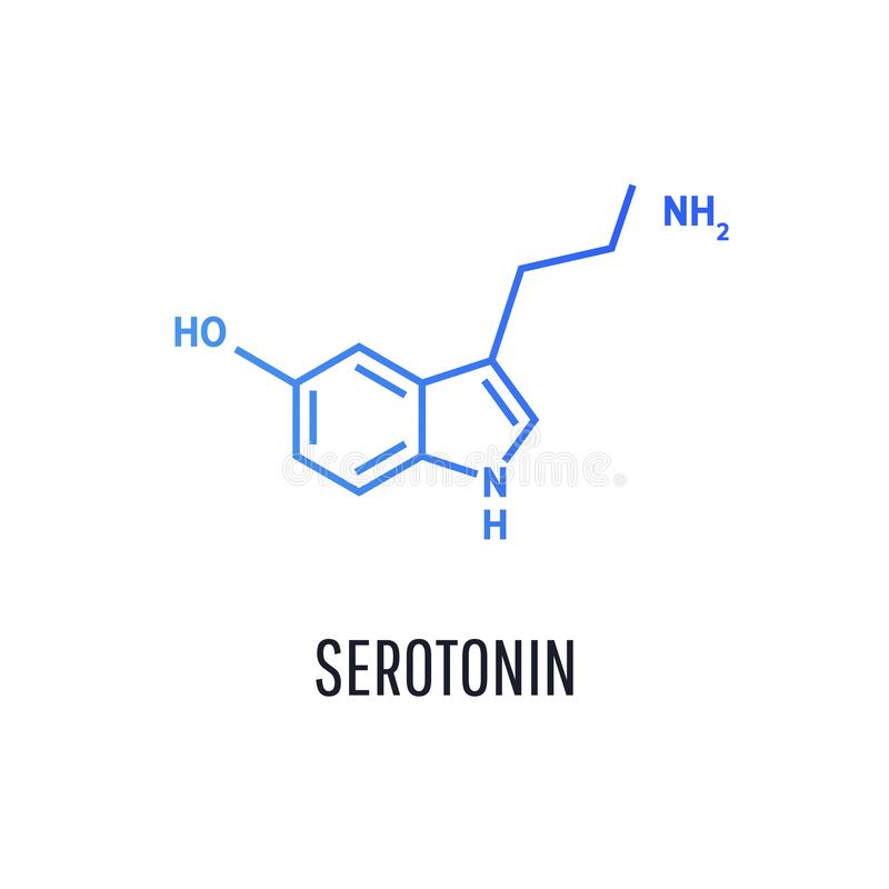 De structurele chemische formule van het serotoninehormoon vector illustratie