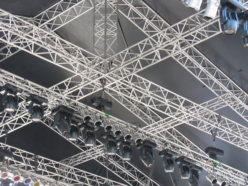 De structuren van stadiumverlichting steekt apparatuur aan royalty-vrije stock foto