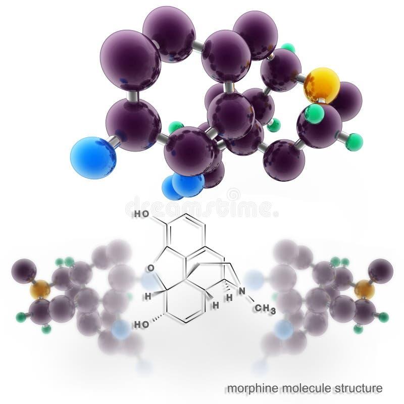 De structuur van de morfinemolecule vector illustratie