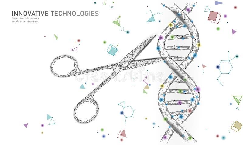 De structuur van DNA 3D het uitgeven geneeskundeconcept De lage poly veelhoekige van de de therapiebehandeling van het driehoeksg royalty-vrije illustratie