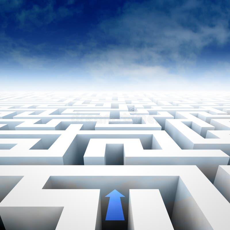 De structuur van het labyrint in perspectiefmening met pijlrichting stock illustratie