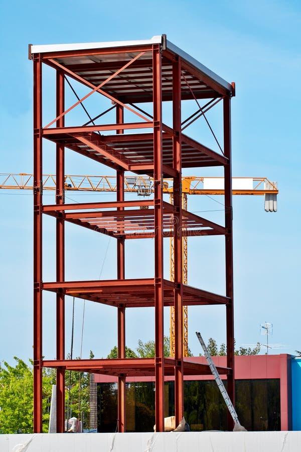 De Structuur van het staal en de kraan van de Bouw stock afbeeldingen