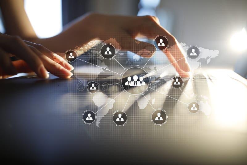 De structuur van de mensenorganisatie U Personeel en rekrutering Mededeling en Internet-technologie stock fotografie