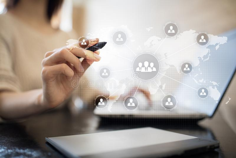 De structuur van de mensenorganisatie U Personeel en rekrutering Mededeling, Internet-technologie Bedrijfs concept royalty-vrije stock afbeeldingen