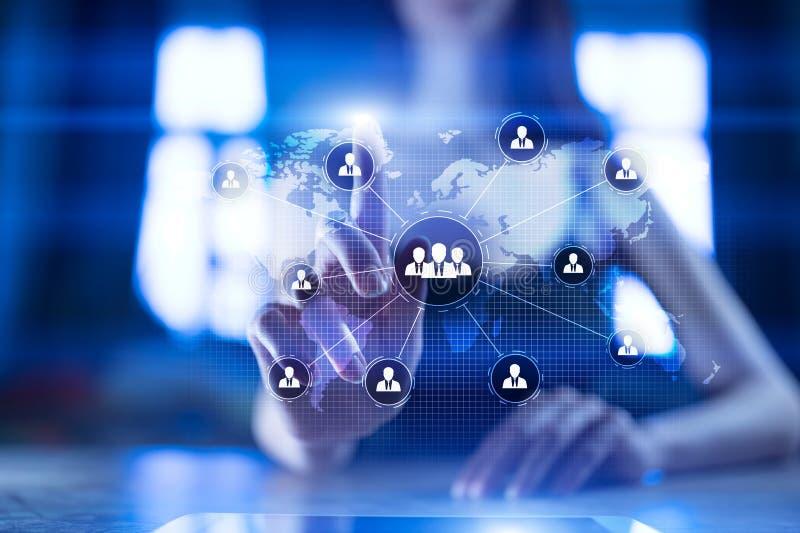 De structuur van de mensenorganisatie U Personeel en rekrutering Mededeling, Internet-technologie Bedrijfs concept stock foto's