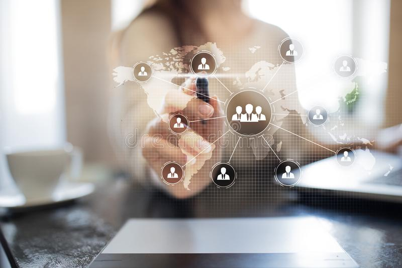 De structuur van de mensenorganisatie U Personeel en rekrutering Mededeling, Internet-technologie Bedrijfs concept royalty-vrije stock foto