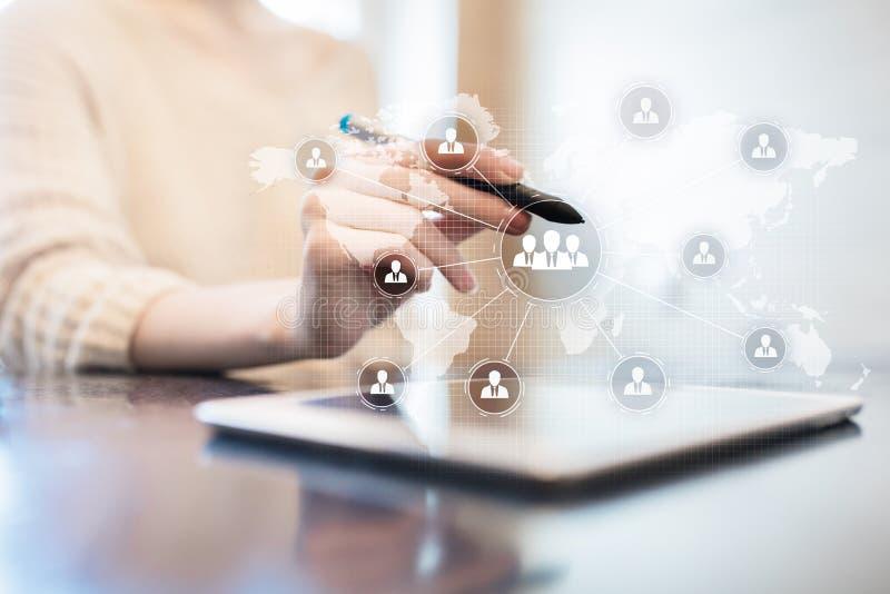 De structuur van de mensenorganisatie U Personeel en rekrutering Mededeling, Internet-technologie Bedrijfs concept stock fotografie