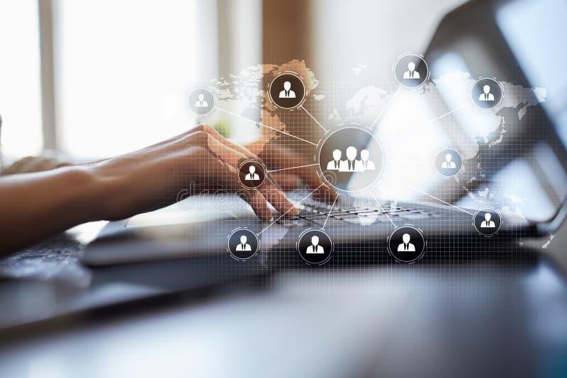 De structuur van de mensenorganisatie U Personeel en rekrutering Mededeling en Internet-technologie Zaken stock afbeeldingen