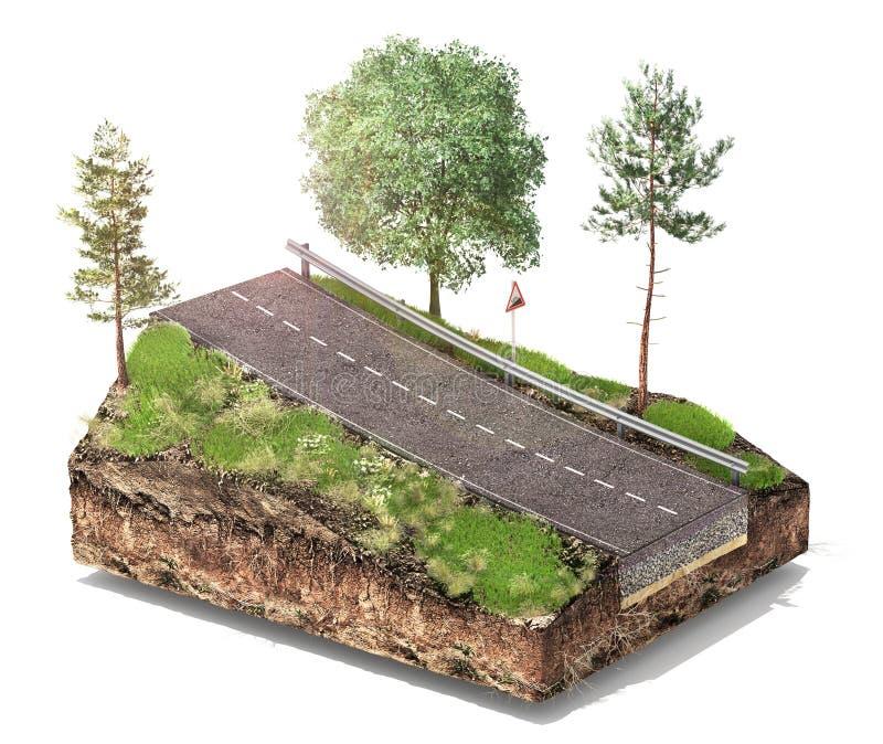 De structuur van de weglaag Stuk van weg met lagen stock illustratie