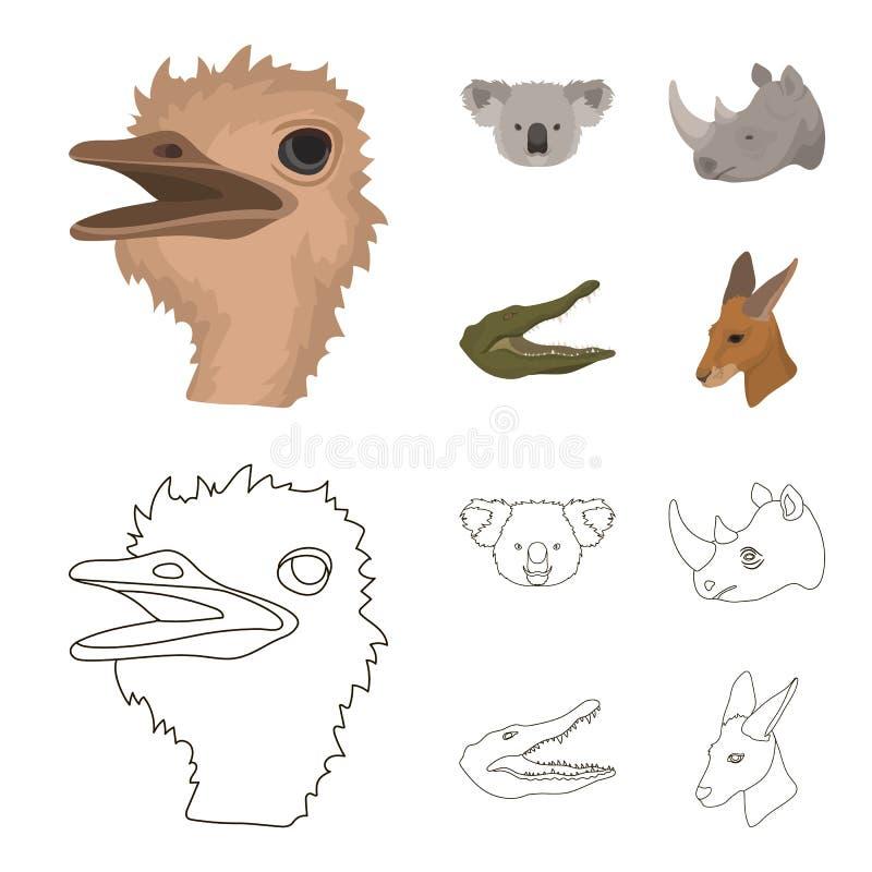 De struisvogel, koala, rinoceros, krokodil, realistische dieren geplaatst inzamelingspictogrammen in beeldverhaal, schetst stijl  stock illustratie
