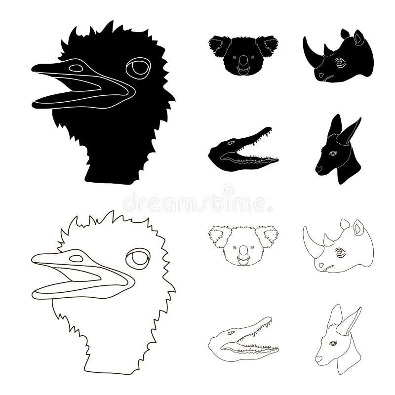 De struisvogel, koala, rinoceros, krokodil, realistische dieren geplaatst inzamelingspictogrammen in zwarte, schetst voorraad van stock illustratie