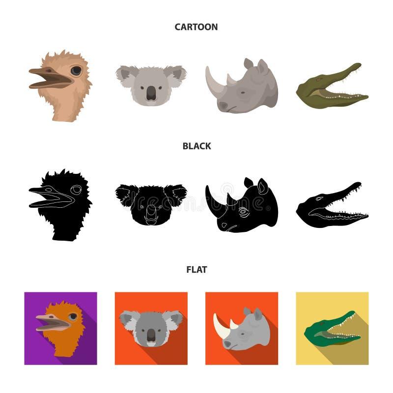 De struisvogel, koala, rinoceros, krokodil, realistische dieren plaatste inzamelingspictogrammen in beeldverhaal, zwart, vlak sti royalty-vrije illustratie