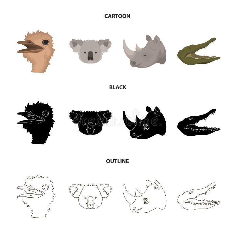 De struisvogel, koala, rinoceros, krokodil, realistische dieren plaatste inzamelingspictogrammen in beeldverhaal, zwarte, de vect vector illustratie