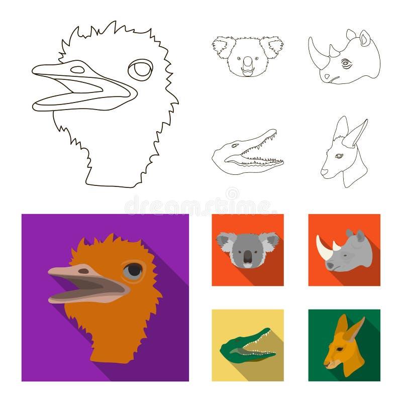 De struisvogel, koala, rinoceros, krokodil, realistische dieren plaatste inzamelingspictogrammen in overzicht, de vlakke voorraad stock illustratie