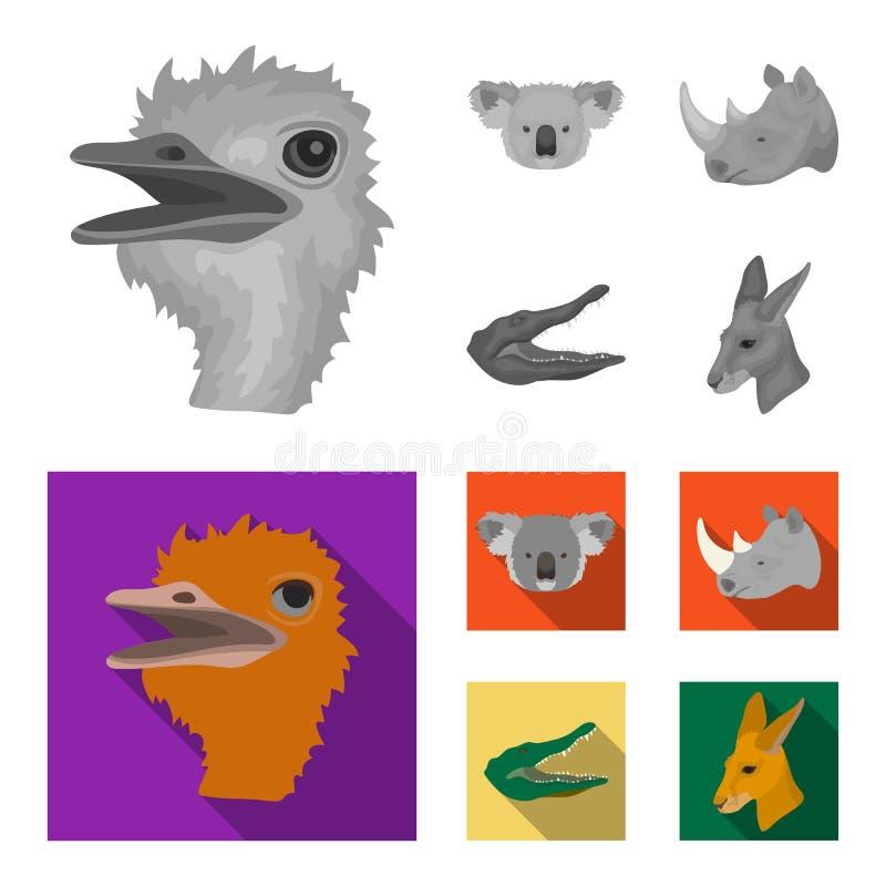 De struisvogel, koala, rinoceros, krokodil, realistische dieren plaatste inzamelingspictogrammen in zwart-wit, vlak stijl vectors royalty-vrije illustratie