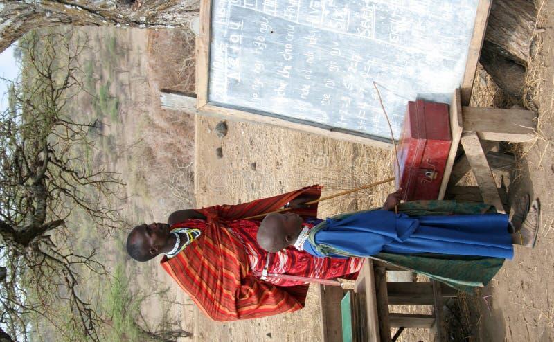 De Student en de Leraar van Masai stock foto