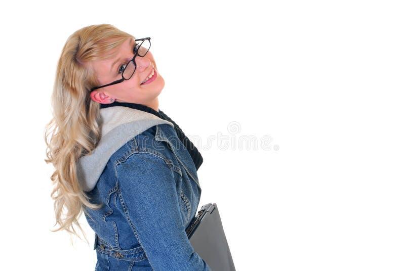 De student en laptop van de middelbare school royalty-vrije stock fotografie