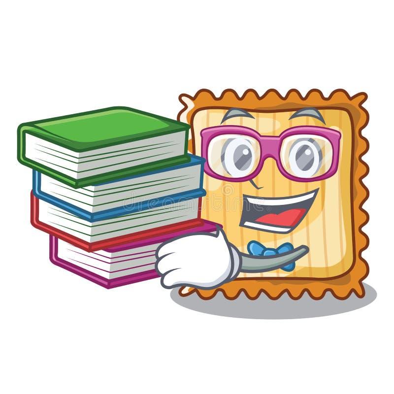 De student met boeklasagna's wordt gediend in beeldverhaalplaten vector illustratie