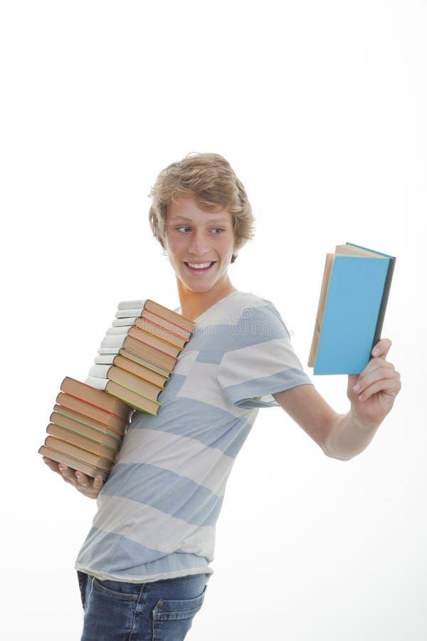 De student van het bibliotheekboek stock foto