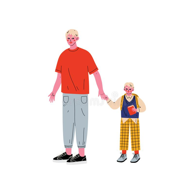 De Student van vaderleading his son aan School, Leuke Jongen en Zijn de Handen Vectorillustratie van de Papaholding vector illustratie